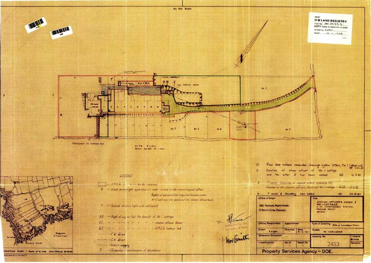 Plan of coastguard cottages and their boundaries, undated