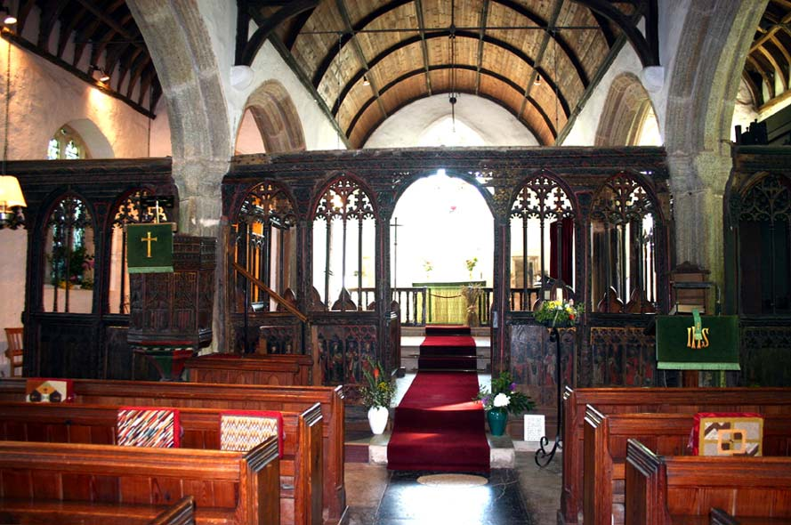 Full view of St Sylvester's Rood Screen and Pulpit